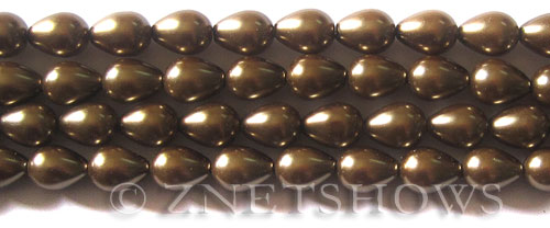 Glass Pearls <b>9x7mm</b> Teardrop Round Copper Color K0373   per <b>15.5-in-str</b>