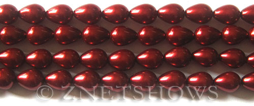 Glass Pearls <b>9x7mm</b> Teardrop Round Red Color K0388   per <b>15.5-in-str</b>