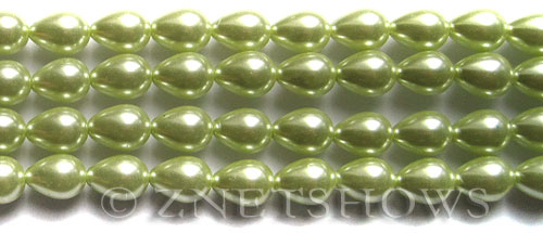 Glass Pearls <b>9x7mm</b> Teardrop Round Baby Lime Color K0441   per <b>15.5-in-str</b>