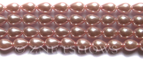 Glass Pearls <b>9x7mm</b> Teardrop Round Pink Color K0502   per <b>15.5-in-str</b>