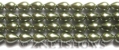 Glass Pearls <b>9x7mm</b> Teardrop Round Sage Color K0551   per <b>15.5-in-str</b>