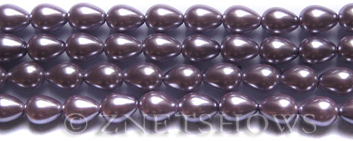 Glass Pearls <b>9x7mm</b> Teardrop Round Orchid Color K0562   per <b>15.5-in-str</b>