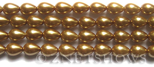Glass Pearls <b>9x7mm</b> Teardrop Round Khaki Color K0689   per <b>15.5-in-str</b>