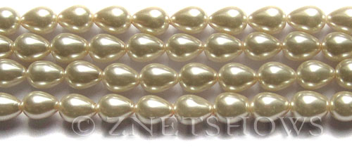 Glass Pearls <b>9x7mm</b> Teardrop Round Off White Color K0822   per <b>15.5-in-str</b>