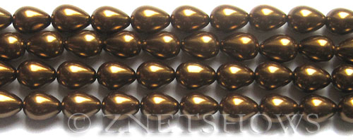 Glass Pearls <b>9x7mm</b> Teardrop Round Bronze Color K0904   per <b>15.5-in-str</b>