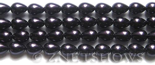 Glass Pearls <b>9x7mm</b> Teardrop Round Dark Purple Color K0995   per <b>15.5-in-str</b>