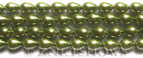 Glass Pearls <b>9x7mm</b> Teardrop Round Olive RB66   per <b>15.5-in-str</b>