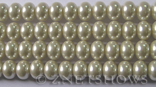 Glass Pearls <b>12x8mm</b> Rondelle Off White Color K0822   per <b>15.5-in-str</b>