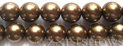 Glass Pearls <b>16mm</b> Round copper Color K373   per <b>15.5-in-str</b>