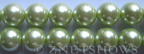 Glass Pearls <b>16mm</b> Round baby lime Color K441   per <b>15.5-in-str</b>