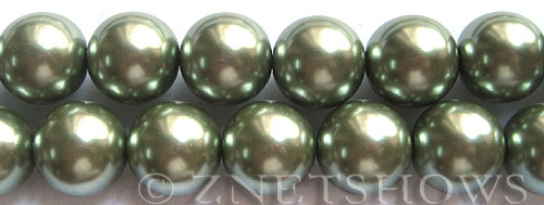 Glass Pearls <b>16mm</b> Round sage Color K551   per <b>15.5-in-str</b>