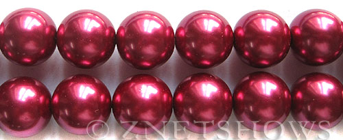 Glass Pearls <b>16mm</b> Round raspberry Color K588   per <b>15.5-in-str</b>
