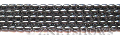 Glass Pearls <b>6x4mm</b> Rice Dark Gray Color K0301(15.5-in-str)   per <b>5-str-bag</b>