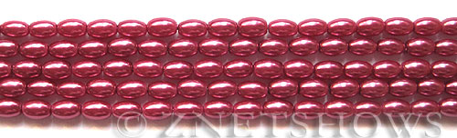 Glass Pearls <b>6x4mm</b> Rice Raspberry Color K0588(15.5-in-str)   per <b>5-str-bag</b>