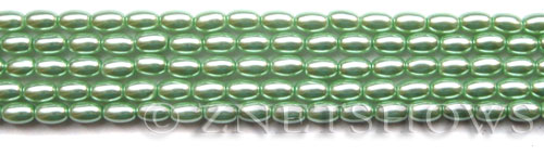 Glass Pearls <b>6x4mm</b> Rice Light Vivid Green Color K0542(15.5-in-str)   per <b>5-str-bag</b>