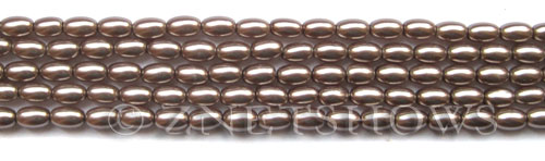 Glass Pearls <b>6x4mm</b> Rice Cocoa Color K1078(15.5-in-str)   per <b>5-str-bag</b>