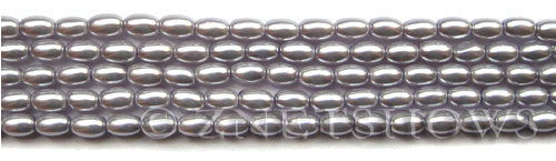 Glass Pearls <b>6x4mm</b> Rice Pale Lilac K0041(15.5-in-str)   per <b>5-str-bag</b>