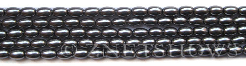 Glass Pearls <b>6x4mm</b> Rice Hematite K0598(15.5-in-str)   per <b>5-str-bag</b>