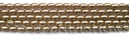 Glass Pearls <b>6x4mm</b> Rice Khaki K0936(15.5-in-str)   per <b>5-str-bag</b>