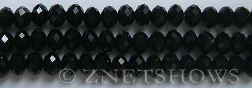 Tiaria Glass Crystal 02-Jet Black rondelle Beads <b>8x5mm</b> faceted     per   <b> 10-str-hank</b>