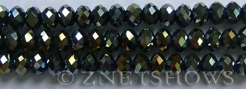 Tiaria Glass Crystal 02AB-Jet Black AB rondelle Beads <b>8x5mm</b> faceted     per   <b> 10-str-hank</b>