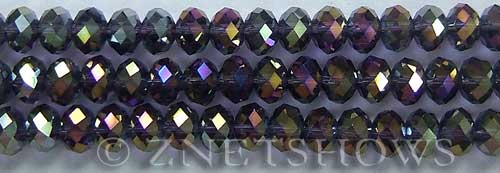 Tiaria Glass Crystal 35AB-Purple AB rondelle Beads <b>8x5mm</b> faceted     per   <b> 10-str-hank</b>