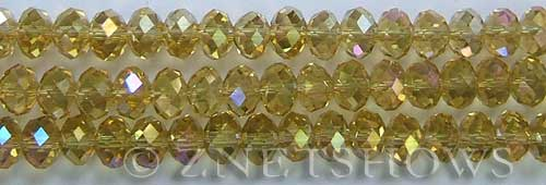 Tiaria Glass Crystal 10AB-Sunglow AB rondelle Beads <b>8x5mm</b> faceted     per   <b> 10-str-hank</b>