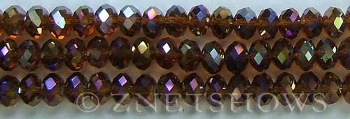 Tiaria Glass Crystal 17AB-Amber AB rondelle Beads <b>8x5mm</b> faceted     per   <b> 10-str-hank</b>