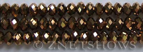 Tiaria Glass Crystal 105-Metallic Copper rondelle Beads <b>8x5mm</b> faceted     per   <b> 10-str-hank</b>