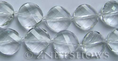 Tiaria Glass Crystal 01-Crystal coin Beads <b>18mm</b> faceted twisted    per   <b> 8-in-str</b>