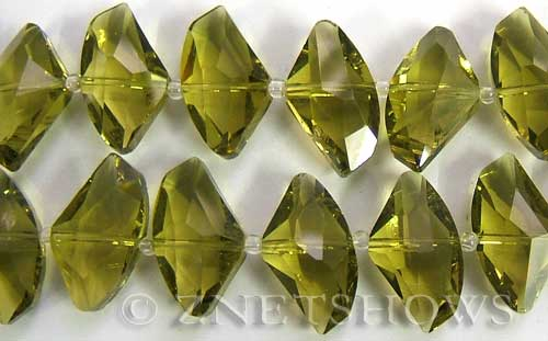 Tiaria Glass Crystal 22-Olive axe Beads <b>24x14mm</b> faceted     per   <b> 8-in-str (10-pc-str)</b>