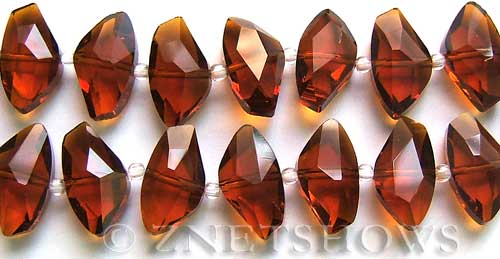 Tiaria Glass Crystal 18-Mocha axe Beads <b>19x10mm</b> faceted     per   <b> 8-in-str (10-pc-str) </b>
