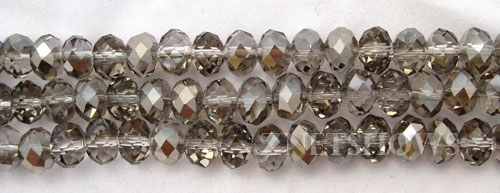 Tiaria Glass Crystal 102-Metallic Halftone Silver rondelle Beads <b>8x5mm</b> faceted     per   <b> 10-str-hank</b>