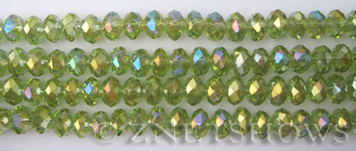 Tiaria Glass Crystal 20AB-Lt. Olive AB rondelle Beads <b>8x5mm</b> faceted     per   <b> 10-str-hank</b>