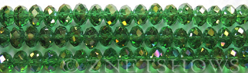 Tiaria Glass Crystal 25AB-Shamrock AB rondelle Beads <b>8x5mm</b> faceted     per   <b> 10-str-hank</b>