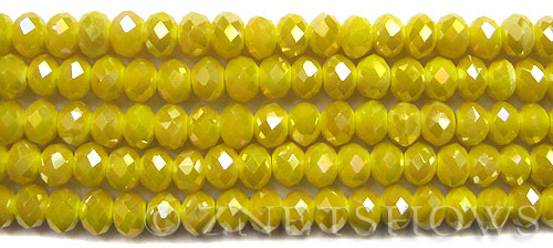 Tiaria Glass Crystal opaque yellow color AB finish Rondelle Beads <b>8x5mm</b> faceted   per   <b> 10-str-hank</b>