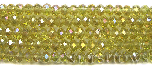 Tiaria Glass Crystal 84AB-Lemon AB rondelle Beads <b>8x5mm</b> faceted     per   <b> 10-str-hank</b>