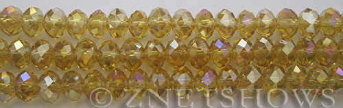 Tiaria Glass Crystal 90AB-Dark champaigne rondelle Beads <b>8x5mm</b> faceted     per   <b> 10-str-hank</b>