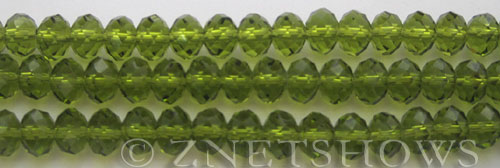 Tiaria Glass Crystal 89-Autumn Green rondelle Beads <b>8x5mm</b> faceted autumn green color    per   <b> 10-str-hank</b>