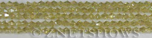 Tiaria Glass Crystal 10AB-Sunglow AB bicone Beads <b>4mm</b> faceted     per   <b> 10-str-hank (50-pc-str)</b>