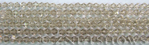 Tiaria Glass Crystal 13-Light Smoky Topaz bicone Beads <b>4mm</b> faceted     per   <b> 10-str-hank (50-pc-str)</b>