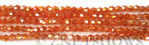 Tiaria Glass Crystal 83AB-Tangerine AB bicone Beads <b>4mm</b> faceted     per   <b> 10-str-hank (50-pc-str)</b>