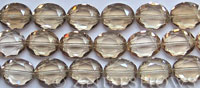 Tiaria Glass Crystal oval Beads <b>about 20x16mm</b> 69-Tan Color faceted (12-pc-str) per <b>8-in-str</b>