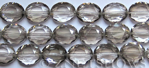 Tiaria Glass Crystal 70-Dark Tan Color oval Beads <b>18x13mm</b> faceted     per   <b> 8-in-str (12-pc-str)</b>