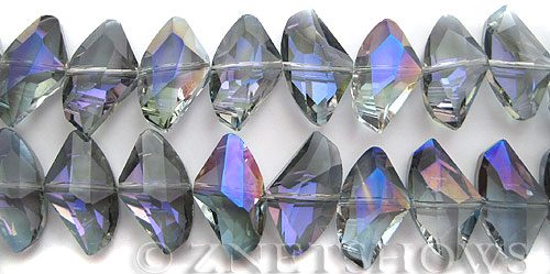 Tiaria Glass Crystal 121-Half Heliotrope axe Beads <b>24x14mm</b> faceted     per   <b> 8-in-str (13-pc-str)</b>