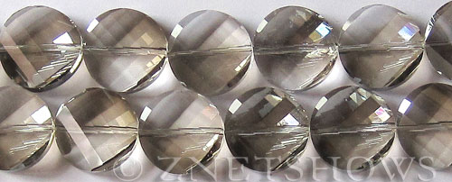 Tiaria Glass Crystal 70-Dark Tan Color coin Beads <b>18mm</b> faceted     per   <b> 8-in-str (11-pc-str)</b>