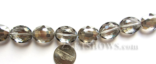 Tiaria Glass Crystal 70-Dark Tan Color oval Beads <b>20x15mm</b> faceted     per   <b> 8-in-str (10-pc-str)</b>
