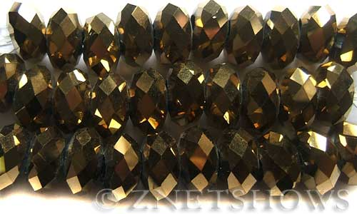 Tiaria Glass Crystal 103-Metallic Gold rondelle Beads <b>14x10mm</b> faceted 5mm large hole    per   <b> 10-pc-str</b>
