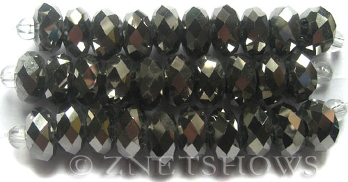 Tiaria Glass Crystal 104- Metallic Silver rondelle Beads <b>14x10mm</b> faceted 5mm large hole    per   <b> 10-pc-str</b>