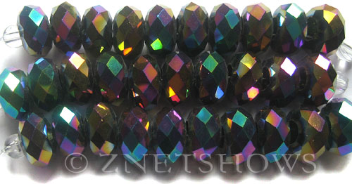 Tiaria Glass Crystal 106-Metallic Peacock rondelle Beads <b>14x10mm</b> faceted 5mm large hole    per   <b> 10-pc-str</b>